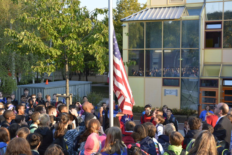 Raising the flag at Patch Middle School