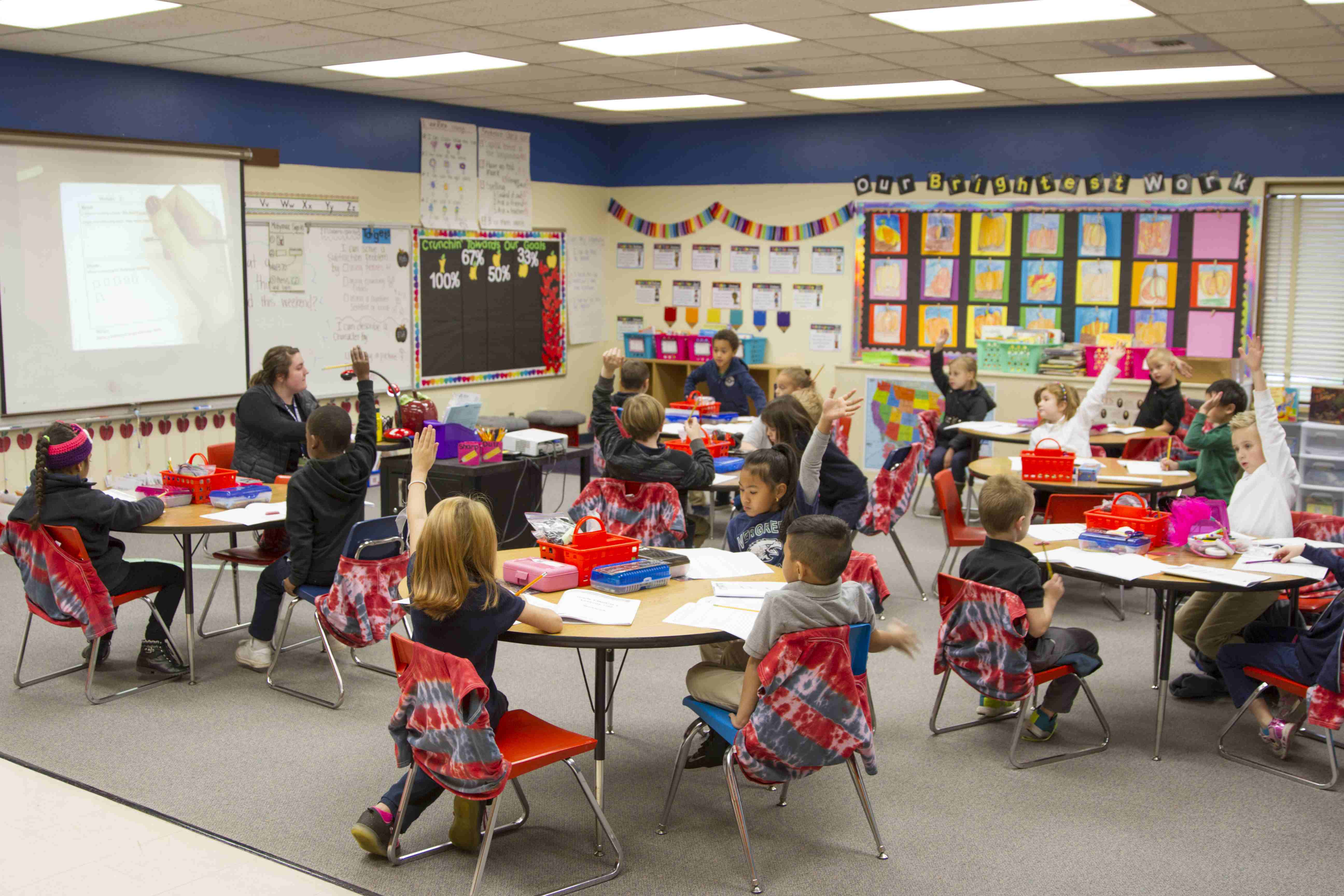 Students learning in First Grade at Evergreen Elementary