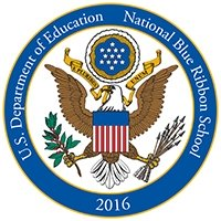 National Blue Ribbon Schools Program Logo - Remodeled space for a CTE/STEM lab with students working on product development.