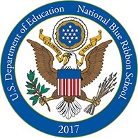 National Blue Ribbon Schools Program Logo - Mrs. Dalton and Dr. Richels working with a Hickory High School English class