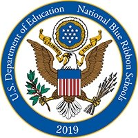 National Blue Ribbon Schools Program Logo - Encounter Christ, Empower Students, Engage Community