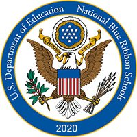 National Blue Ribbon Schools Program Logo - Front entry of LSMSA, students working and in transit