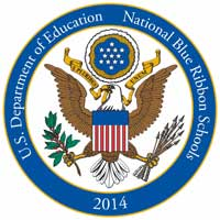 2014 National Blue Ribbon Schools Program Logo - The Mission Statement's four pillars: Spiritual, Academic, Artistic, Athletic